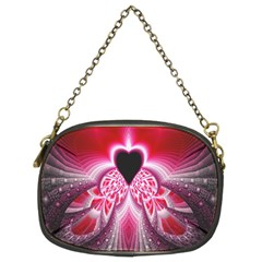 Illuminated Red Hear Red Heart Background With Light Effects Chain Purses (two Sides)