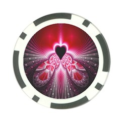 Illuminated Red Hear Red Heart Background With Light Effects Poker Chip Card Guard (10 Pack)