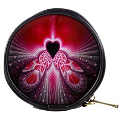Illuminated Red Hear Red Heart Background With Light Effects Mini Makeup Bags