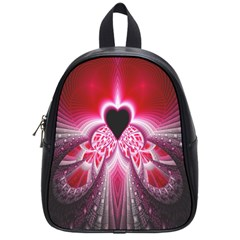 Illuminated Red Hear Red Heart Background With Light Effects School Bags (small)