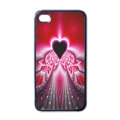 Illuminated Red Hear Red Heart Background With Light Effects Apple Iphone 4 Case (black)