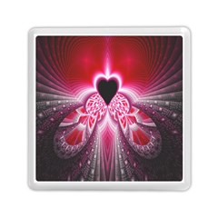 Illuminated Red Hear Red Heart Background With Light Effects Memory Card Reader (square)