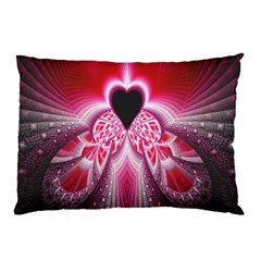 Illuminated Red Hear Red Heart Background With Light Effects Pillow Case (Two Sides)