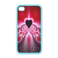Illuminated Red Hear Red Heart Background With Light Effects Apple iPhone 4 Case (Color)