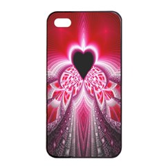 Illuminated Red Hear Red Heart Background With Light Effects Apple Iphone 4/4s Seamless Case (black)