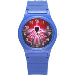 Illuminated Red Hear Red Heart Background With Light Effects Round Plastic Sport Watch (S)