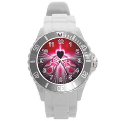 Illuminated Red Hear Red Heart Background With Light Effects Round Plastic Sport Watch (L)