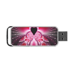 Illuminated Red Hear Red Heart Background With Light Effects Portable Usb Flash (two Sides)