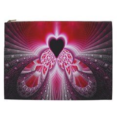 Illuminated Red Hear Red Heart Background With Light Effects Cosmetic Bag (xxl)