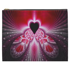 Illuminated Red Hear Red Heart Background With Light Effects Cosmetic Bag (XXXL)