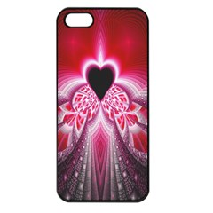 Illuminated Red Hear Red Heart Background With Light Effects Apple iPhone 5 Seamless Case (Black)