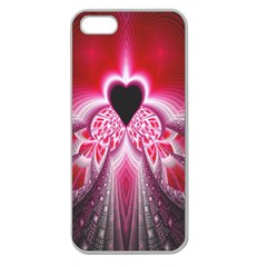 Illuminated Red Hear Red Heart Background With Light Effects Apple Seamless iPhone 5 Case (Clear)