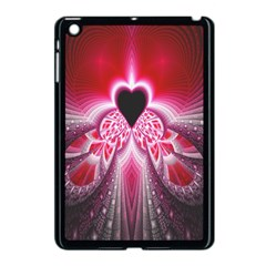 Illuminated Red Hear Red Heart Background With Light Effects Apple Ipad Mini Case (black)