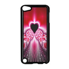 Illuminated Red Hear Red Heart Background With Light Effects Apple iPod Touch 5 Case (Black)