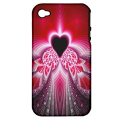 Illuminated Red Hear Red Heart Background With Light Effects Apple Iphone 4/4s Hardshell Case (pc+silicone)