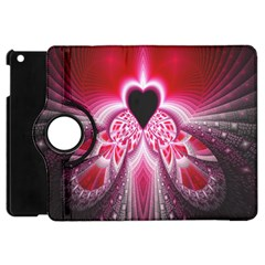 Illuminated Red Hear Red Heart Background With Light Effects Apple Ipad Mini Flip 360 Case