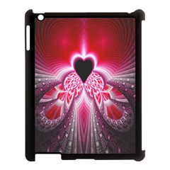 Illuminated Red Hear Red Heart Background With Light Effects Apple iPad 3/4 Case (Black)
