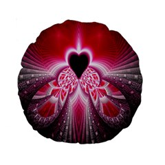 Illuminated Red Hear Red Heart Background With Light Effects Standard 15  Premium Round Cushions