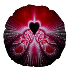 Illuminated Red Hear Red Heart Background With Light Effects Large 18  Premium Round Cushions