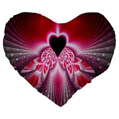Illuminated Red Hear Red Heart Background With Light Effects Large 19  Premium Heart Shape Cushions