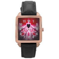 Illuminated Red Hear Red Heart Background With Light Effects Rose Gold Leather Watch