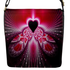 Illuminated Red Hear Red Heart Background With Light Effects Flap Messenger Bag (S)