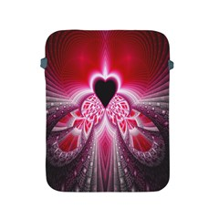 Illuminated Red Hear Red Heart Background With Light Effects Apple iPad 2/3/4 Protective Soft Cases