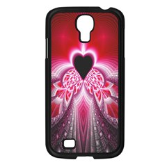 Illuminated Red Hear Red Heart Background With Light Effects Samsung Galaxy S4 I9500/ I9505 Case (Black)