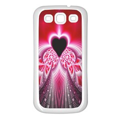 Illuminated Red Hear Red Heart Background With Light Effects Samsung Galaxy S3 Back Case (white)