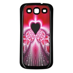Illuminated Red Hear Red Heart Background With Light Effects Samsung Galaxy S3 Back Case (Black)