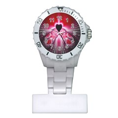 Illuminated Red Hear Red Heart Background With Light Effects Plastic Nurses Watch