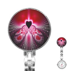 Illuminated Red Hear Red Heart Background With Light Effects Stainless Steel Nurses Watch