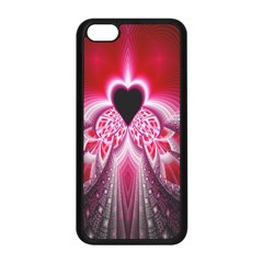 Illuminated Red Hear Red Heart Background With Light Effects Apple iPhone 5C Seamless Case (Black)
