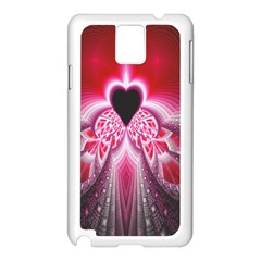Illuminated Red Hear Red Heart Background With Light Effects Samsung Galaxy Note 3 N9005 Case (White)