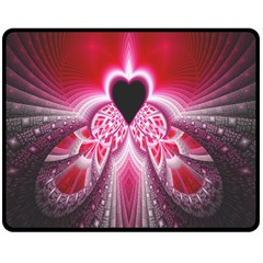 Illuminated Red Hear Red Heart Background With Light Effects Double Sided Fleece Blanket (medium)