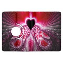 Illuminated Red Hear Red Heart Background With Light Effects Kindle Fire Hdx Flip 360 Case