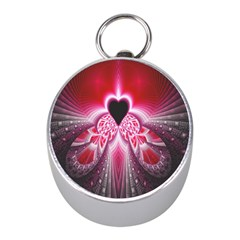 Illuminated Red Hear Red Heart Background With Light Effects Mini Silver Compasses