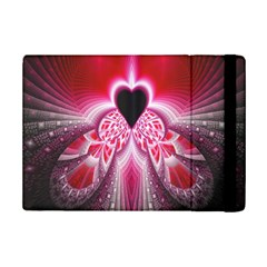 Illuminated Red Hear Red Heart Background With Light Effects iPad Mini 2 Flip Cases
