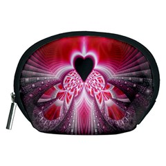 Illuminated Red Hear Red Heart Background With Light Effects Accessory Pouches (Medium)