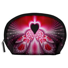 Illuminated Red Hear Red Heart Background With Light Effects Accessory Pouches (Large)