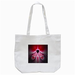 Illuminated Red Hear Red Heart Background With Light Effects Tote Bag (White)