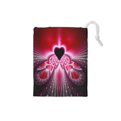 Illuminated Red Hear Red Heart Background With Light Effects Drawstring Pouches (Small)