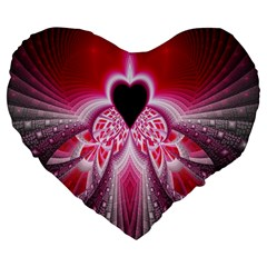 Illuminated Red Hear Red Heart Background With Light Effects Large 19  Premium Flano Heart Shape Cushions