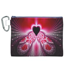 Illuminated Red Hear Red Heart Background With Light Effects Canvas Cosmetic Bag (xl)