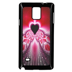 Illuminated Red Hear Red Heart Background With Light Effects Samsung Galaxy Note 4 Case (Black)