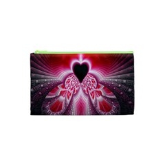 Illuminated Red Hear Red Heart Background With Light Effects Cosmetic Bag (xs)