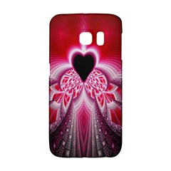 Illuminated Red Hear Red Heart Background With Light Effects Galaxy S6 Edge