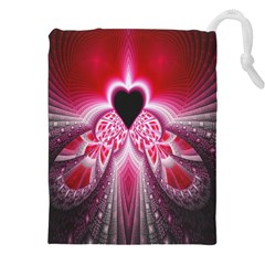 Illuminated Red Hear Red Heart Background With Light Effects Drawstring Pouches (xxl)