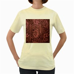 Abstract Purple Background Natural Motive Women s Yellow T Shirt