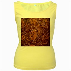Abstract Purple Background Natural Motive Women s Yellow Tank Top